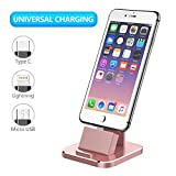 Charging Dock, XUNMEJ Universal Desktop Phone Charging Stand Station for All Android Smartphone Samsung, for Phone Xs X Max XR X 8 7 6 Plus with Cable for Micro USB Type-C for Apple iOS - Rose Gold