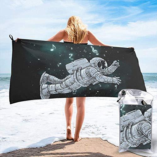 Toalla de Playa 27.5 'X 55',Sea Penguin Ultra Soft Sand Microfibra Portátil Absorbente de Agua Multi Microfiber Sand Free Toalla de Playa Manta-Astronaut
