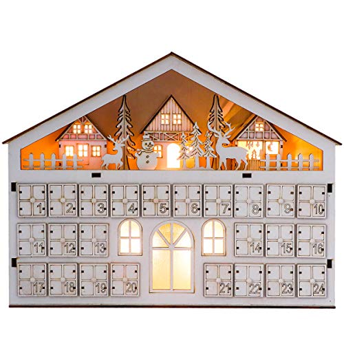 Valery Madelyn LED Calendario de Adviento de Navidad de Madera para Iluminar, 15.3in/39cm Cuenta Atrás para Navidad Decoración de Casa de 24 días, Adornos (Bosque)