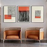 Póster Decoración de pared Moderno abstracto Retro Minimalista Impresiones de arte Bauhaus Exposición de arte Bloque de color Decoración de pared Imágenes pop 3 piezas 50x70cm sin marco