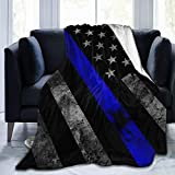 YongColer Super Soft Sherpa Plus Velvet Throw Blankets Cloak for Bed Couch Sofa, Blue Line American Flag Black Large Sleeping Blanket Wearable Blanket