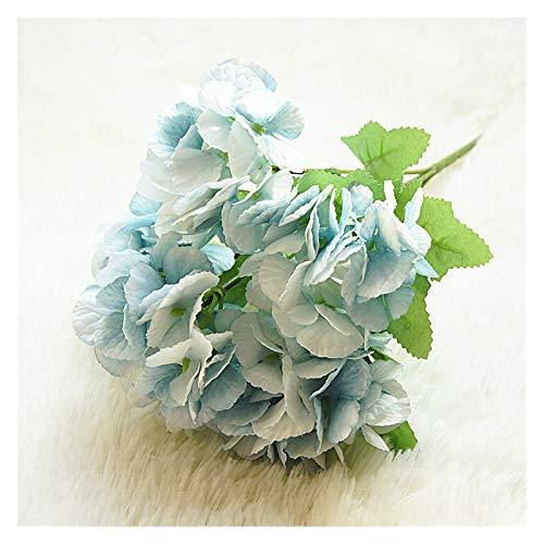 Flor artificial 5 cabeza hortensia artificial flores ramo blanco pequeño seda flores falsas flores flores flores azul boda casa fiesta decoración Para la decoración del partido de jardín de boda.