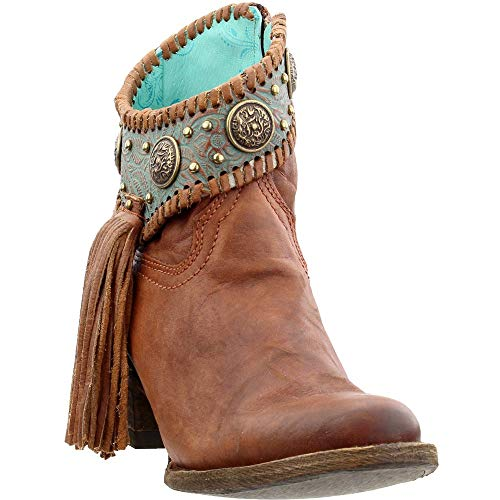 Corral Ld Cognac / Turquoise Conchos Ankle Boot ,Size 8.5