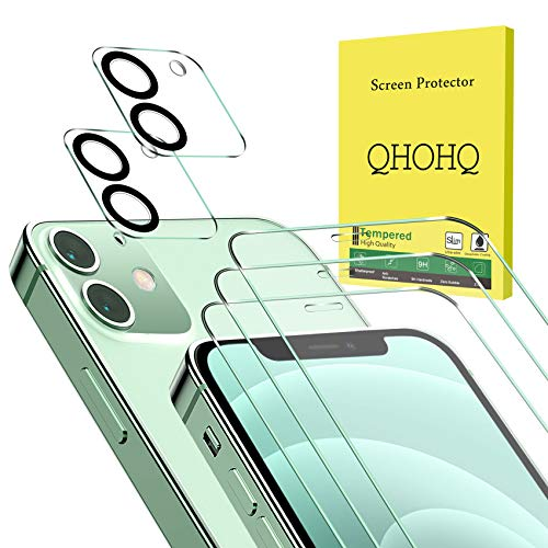 """QHOHQ 3 Pack Screen Protector for iPhone 12 6.1"""" with 2 Packs Camera Lens Protector, HD Full Screen Tempered Glass Film, 9H Hardness Anti-Shatter, Touch Sensitive, Easy Install, Case Friendly"""