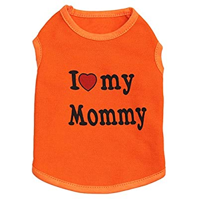Ducomi Pets Love T-Shirt for Dog and Cat in Cotton - Summer T-Shirt for Small and Medium Dogs and Puppies - Clothing Chihuahua, Poodle and Breeds Toy (S, Mommy Orange)
