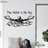 Tianpengyuanshuai Deportes Tatuajes de Pared decoración del hogar el Agua es mi Cielo Frase Nadador Mariposa Arte Mural extraíble 40x77cm