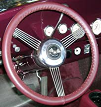 product image for Wheelskins Genuine Leather Burgundy Steering Wheel Cover Compatible with Kia Vehicles-Size C