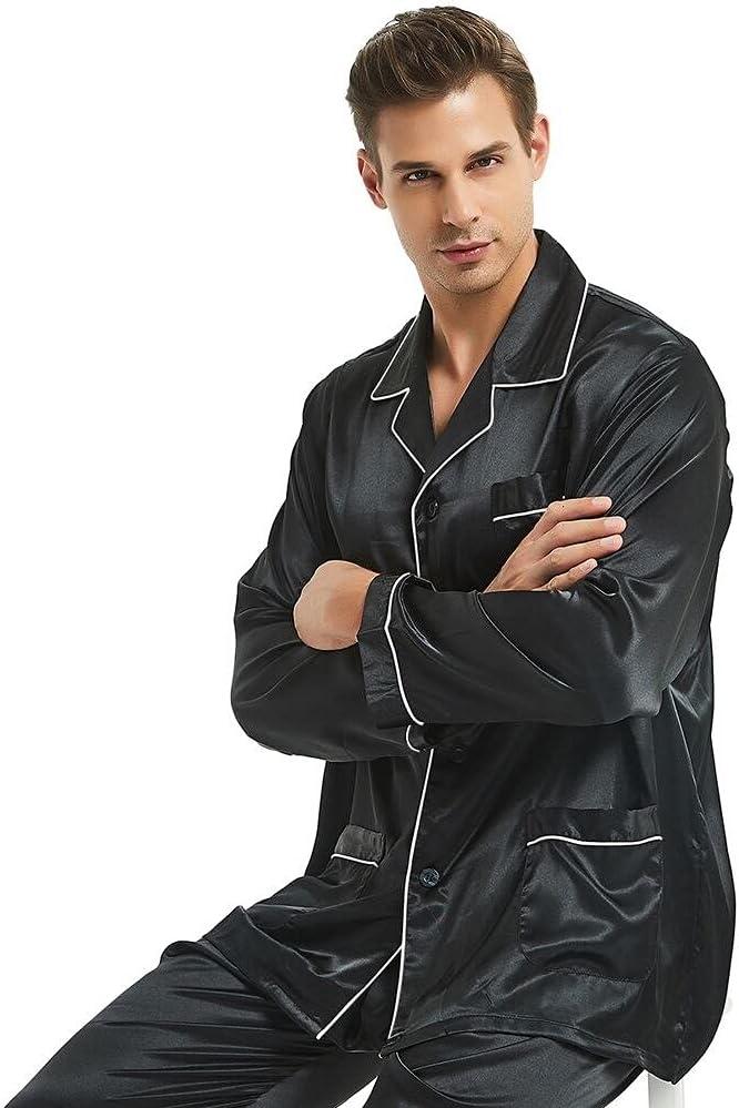 Pajamas Set Mens Silk Satin Pajamas Long Sleeve Loungewear Two-Piece Sleepwear Button-Down Pj Set WAITAO (Color : Black, Size : XXX-Large)