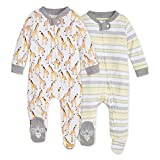 Burt's Bees Baby Baby Boys' Sleep and Play Pjs, 100% Organic Cotton One-Piece Romper Jumpsuit Zip Front Pajamas, Giraffes 2-PK, 3 Months