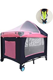 Glomixs Folding Bed Chair,Baby Nest Portable Travel Baby Cribs Toddler Multi-Function Folding Bed Folding Chair,Folding Baby Travel Cribs Portable Baby Bed Carry Cot with 5 Pockets Mummy Bags