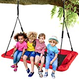 LITTLELOGIQ Tree Swing for Kids, 59 Inch Outdoor Swing Sets for Backyard, 700lb Capacity, Adjustable Height, Easy Setup, for Adults & Kids - Red