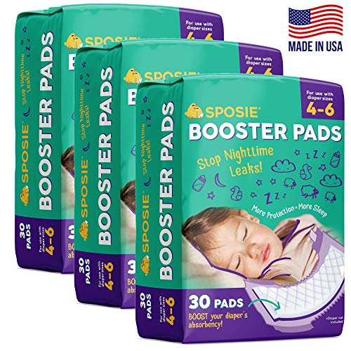 Sposie Booster Pads Diaper Doubler, 90 Count, 3 Packs of 30 Pads, No Adhesive for Easy...