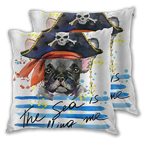 ELIENONO Juego de 2 Decorativo Funda de Cojín Tema para Mascotas Acuarela Pirata Bulldog francés Arte Funda de Almohada Cuadrado para Sofá Cama Decoración para Hogar,45x45cm
