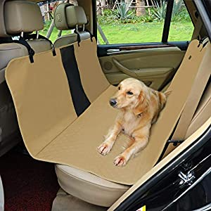 Petsfit Dog Car Seat Cover Waterproof Scratchproof Nonslip Hammock for Pets Backseat Protection Against Dirt and Pet Fur Khaki