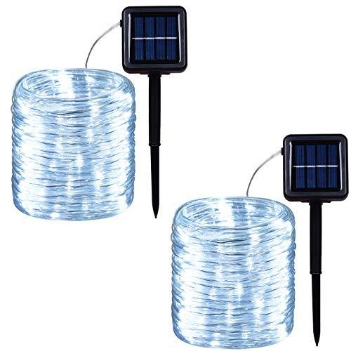 Outdoor Solar LED Rope Lights, String Lights with Clear PVC Jacket 100 LED Indoor/Outdoor Lights 8 Modes Copper Wire Fairy Lights for Wedding Christmas Party 2-Pack (White)