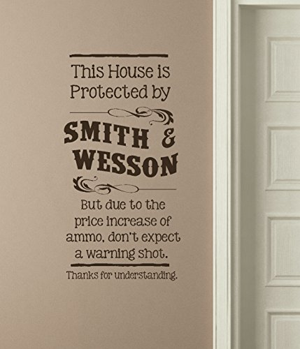 """Wall Decor Plus More WDPM3531""""This House Protected by Smith and Wesson"""" Funny Wall Decal Vinyl Sticker Lettering, Chocolate"""