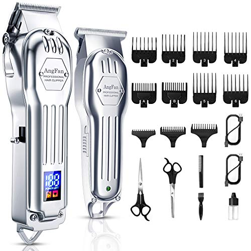Hair Clippers for Men Full Metal Cordless Close Cutting T-Blade Trimmer Kit with LED Display Professional Hair Cutting Kit Beard Trimmer Barbers Men Women Kids Clipper Set Rechargeable Grooming Kit
