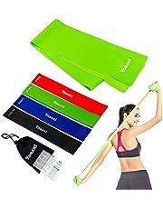 Yoassi 150×15 cm fitnessband met set 4 diktes 30×5 cm weerstandsbanden-stretchband fitness gymnastiek elastieken voor spieroefeningen/sport/yoga/stretch