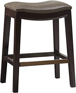 Madison Park Belfast Bar Stools, Contour Faux Leather Padded Seat, Nail Head Trim Modern Kitchen Counter Chair, Solid Hardwood, Kickplate Footrest, Dining Room Accent Furniture, Mushroom