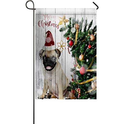 LIDU Garden Flags House Banner Decorative Flags Home Outdoor Valentine, French Bulldog Wear Christmas Hat and Xmas Tree Wooden Plank Welcome Holiday Yard Flags, Double Sides 28 x 40inch