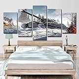 CNMDUSA Cuadro sobre Lienzo 5 Partes Tanque de Nieve Blanca,Imprimir En Lienzo HD Cuadros para Dormitorios Modernos, Marco De Madera 150x80cm Listo para Colgar Moderno Decorar