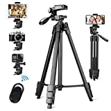 vosscoss Phone Tripod, 53- Inch Lightweight Tripod Portable DSLR Camera Tripod for iPhone & Android & IPAD with Phone/Tablet Holder Stand & Wireless Bluetooth Remote Control Shutter(NEW VERSION)