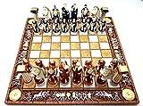 Juego de mesa de ajedrez y 32 piezas de figuras de dioses romanos griegos, hechos a mano
