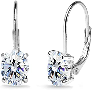 Sterling Silver 7x5mm Oval Solitaire Dainty Leverback Earrings Made with Swarovski Zirconia
