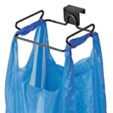 mDesign Over the Cabinet Metal Wire Small Garbage Container, Trash Bag Holder Rack for Recycled Reusable Disposable Plastic Shopping Grocery Bags for Kitchen, Pantry, Garage, Bathroom - Matte Black