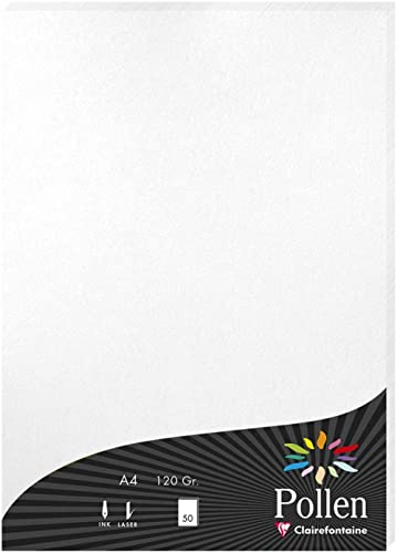 Clairefontaine 24302C - Un étui de 50 feuilles Pollen 21x29,7 cm 120g, Blanc irisé