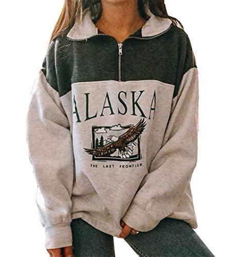 Yesgirl Kapuzenpullover Für Damen Alaska Letter Print Sweatshirt Lose Casual Langarm Hip Hop Hoher Rundhals Reißverschluss Adler Grafik Top Farbanpassung Hoodie (S, 01 A Grün)