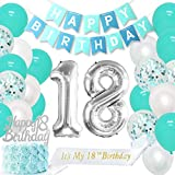 18th Birthday Decorations Girls Teal Happy 18th Birthday Sash Eighteenth Birthday Cake Topper Number 18 Balloons for Her Girlfriend Brand Name: Kreatwow