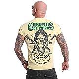 Yakuza Camiseta para hombre Cuernos De Chivo V02, Plátano Pálido, XXXL