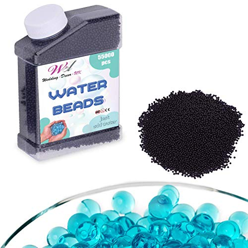WedDecor Agua Bolas No Tóxico Biodegradable Cristal Bio Tierra Hidrogel para Hogar, Oficina, Decoración Fiesta, Centro de Mesa Jarrón Relleno - Azul Real, 55000pcs