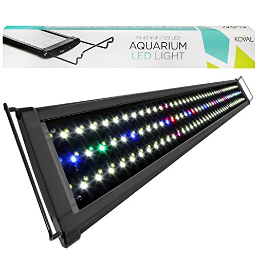 Koval 129 LED Aquarium Light Hood with Extendable Brackets, 36-Inch to 43-Inch