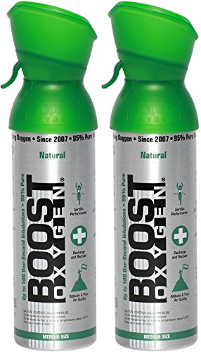 Boost Oxygen Supplemental Oxygen to Go | All-Natural Respiratory Support for Health, Wellness, Performance, Recovery and Altitude (5 Liter Canister, 2 Pack, Natural)