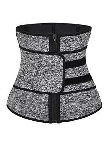 IMUZYN Waist Trainer for Women Workout Corsets Cincher Body Shaper Trimmer Shapewear Tummy Control Girdles Black Grey 3XL