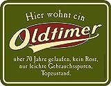 RAHMENLOS Original Blechschild zum 70. Geburtstag: Oldtimer, 70 Jahre gelaufen, Topzustand.