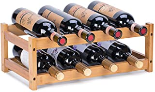 Wine Rack, Fostersource Natural Bamboo Storage Rack Freestanding Countertop Stackable Display Shelf Wine Bottle Holder (2-...
