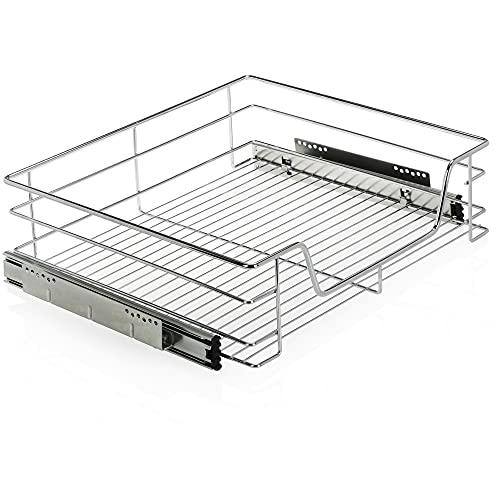 com-four® Cestas extraibles para muebles de cocina - Bandeja extraible de 60 cm - Cajones para despensa extraibles, 14 x 45 x 49,5 cm (Einbauschublade)