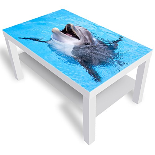 IKEA Lack Beistelltisch Couchtisch 'Glückliches Delphin' Sofatisch mit Motiv Glasplatte Kaffee-Tisch von DEKOGLAS, 90x55x45 cm Weiß