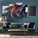 mmkow Stampato su Tela 5 Pezzi Videogioco Spiderman Arredamento per la casa Artista Decorazione per la casa 50x100 cm (Incorniciato)
