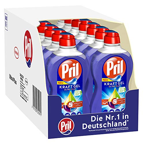 Pril 5 Plus Kraftgel Ultra Plus, Handgeschirrspülmittel, (16 x 450 ml) mit selbstaktiver Fettlösekraft