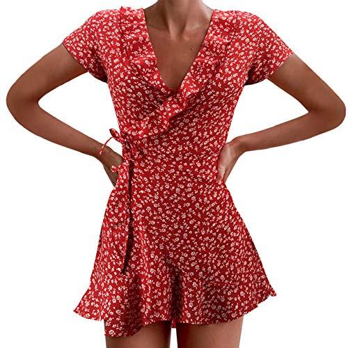 XWANG Vestido de verano para mujer, cuello en V, lunares, minivestido, de cintura alta, de manga corta rojo XL