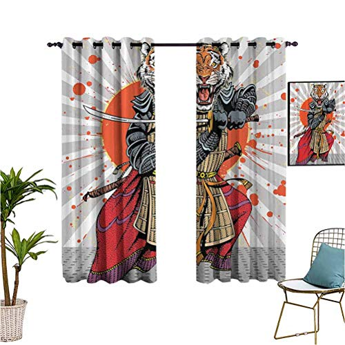 Anime Wild Ninja Cartoon Japanese best home fashion thermal insulated blackout curtains Masculine Tiger Leopard Samurai Sword Fighter Japan Style Rising Suitable forFit Window Curtain Assorted Colors