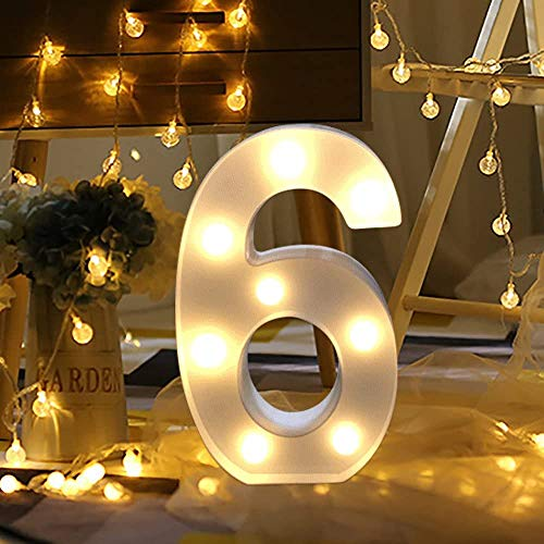 LED Decorativos Números Iluminados,0-9 Luminosas Decorativas con Luces LED,Números Arábigos para el Cumpleaños Fiesta de Bodas Decoración de la Barra Dormitorio Colgante de Pared (6)