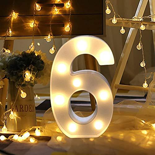 Dewanxin LED Decorativos Números Iluminados,0-9 Luminosas Decorativas con Luces LED,Números Arábigos para el Cumpleaños Fiesta de Bodas Decoración de la Barra Dormitorio Colgante de Pared(6)