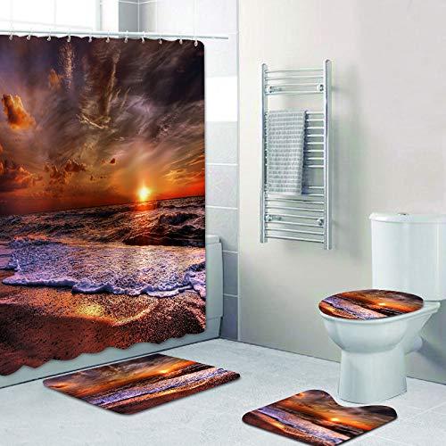 WODEJIA Bathroom Shower Curtain Toilet Cover Floor Mat Accessories...