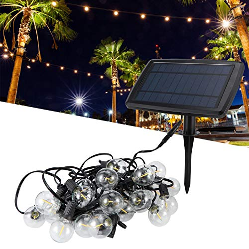 Les-Theresa IP64 Waterproof 25LED G40 Bulbs USB Solar Power String Lights for Outdoor Garden Courtyard 5V Warm White