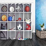Quadratischer Ball-Skateboard-Duschvorhang, Badezimmervorhang, Dekoration, wasserdichter Stoff